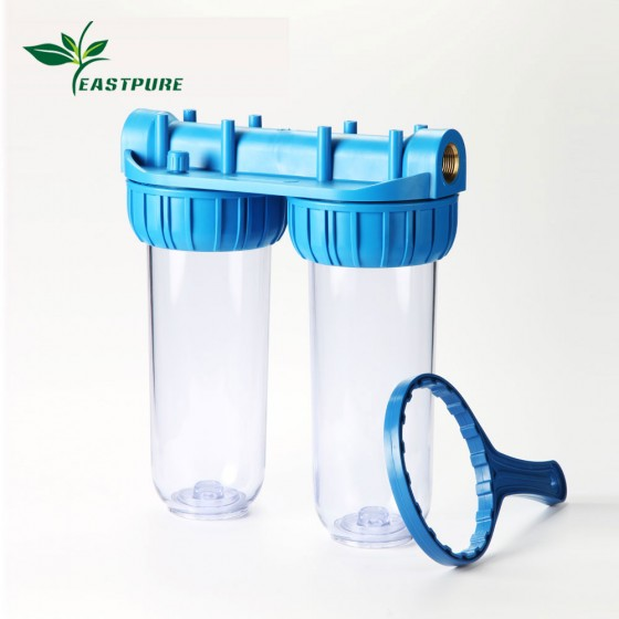 ROH01-2S home using dual big clear water filter housing with wrench